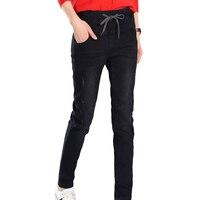 2018 Zima Dżinsy kobiety Wysoka Talia Denim Spodnie Ciepłe Spodnie Slim Gruby Odcinek Polar Ołówek plus rozmiar 5xl dżinsy kobiety