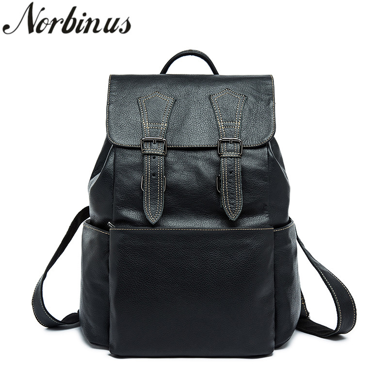 Norbinus 2018 Men Backpacks Genuine Leather Laptop Backpack for Men Luxury Daypack School Bags for Teenager Boys Male Travel Bag men original leather fashion travel university college school book bag designer male backpack daypack student laptop bag 9950