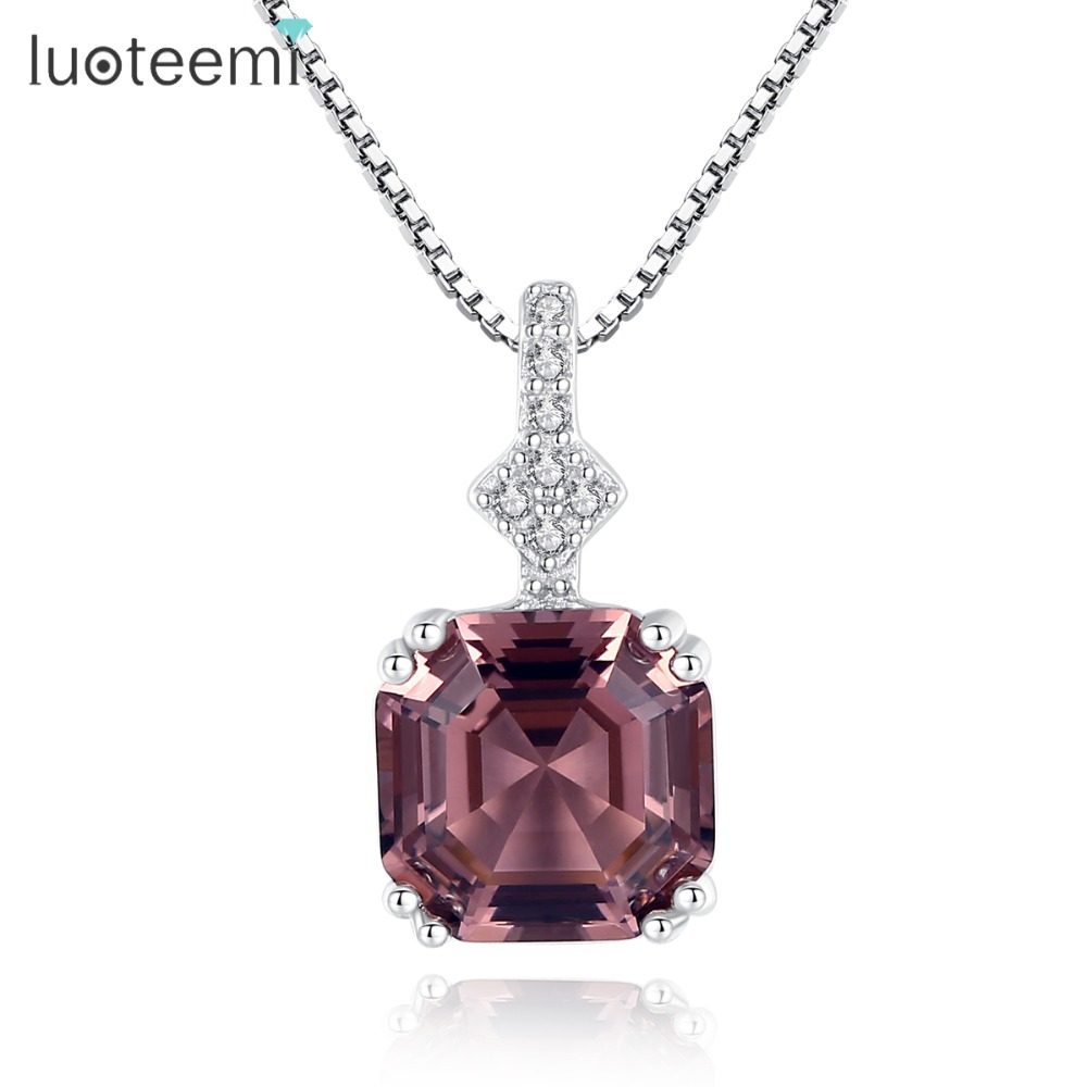 LUOTEEMI Luxury Charming Authentic 925 Sterling Silver Necklace For Women Square Brilliant Cut Pendant Necklace Party jewellery