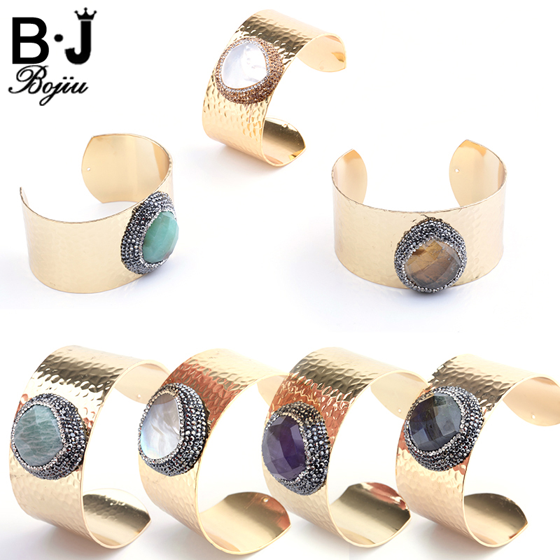 Bojiu Noble Natural Stone Women Bangles Crystal Rhinestones Alloy New Jewelry Women Quartz Cuff Gold Color Bangles BR010