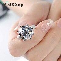 Vissap S925 Sterling Silver 8 Carat Simulate Diamond Luxury Engagement Wedding Rings For Women Hot New
