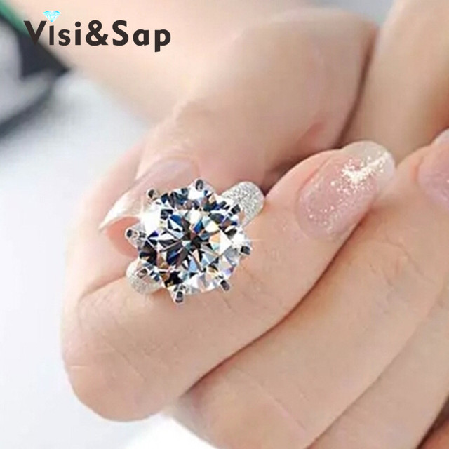 White plated ring 8 Carat Crown AAA CZ Diamond beads Wedding Rings For Women Luxury Engagement size 5-11 fashion jewelry VSR064