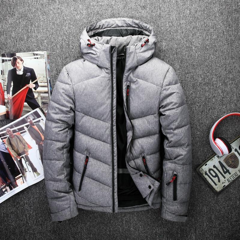 2017 Mens White Duck Down Jackets Padded Men Parkas Warm Winter Coat Hooded Man Jacket Jaquetas Masculina Inverno