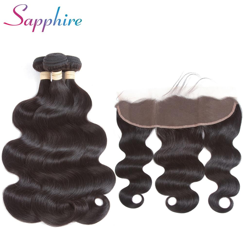 Sapphire Brazilian Body Wave Human Hair Weave Bundles With Closure 13X4 Lace Frontal Closure 3 Bundles