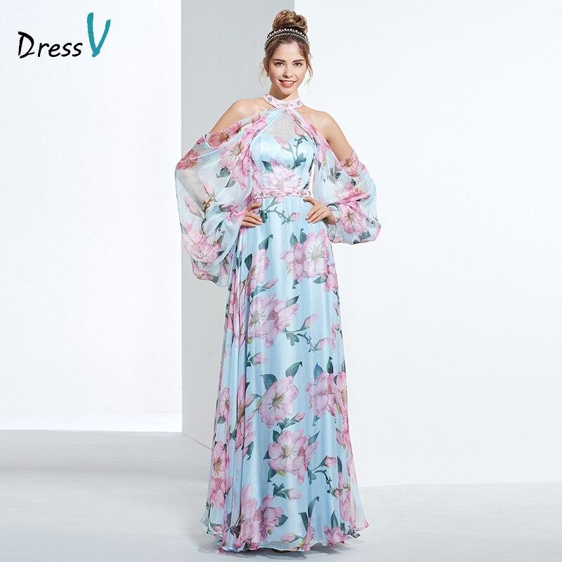 Dressv дешевые печати выпускного вечера вечернее платье повода линии с длинными рукавами вечернее платье элегантные женщины длинные вечерние платья