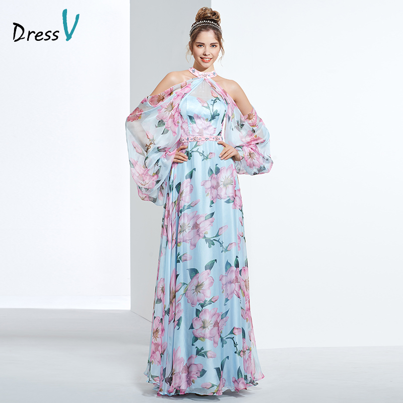 Dressv cheap printing prom party evening dress halter a line long sleeves formal party dress elegant women long evening dresses