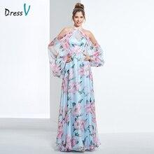 Dressv de impresión barato fiesta noche vestido halter una línea mangas largas formal vestido de fiesta elegante de las mujeres vestidos de noche