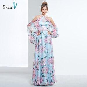 Image 1 - Dressv недорогое вечернее платье с принтом для выпускного вечера, платье трапециевидной формы с лямкой через шею и длинными рукавами, вечернее платье, элегантное женское длинное вечернее платье es