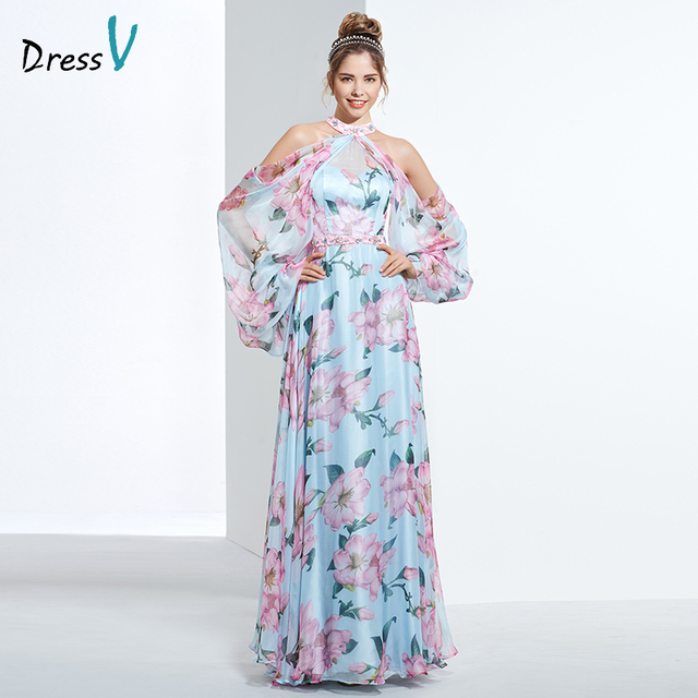 Dressv недорогое вечернее платье с принтом для выпускного вечера, платье трапециевидной формы с лямкой через шею и длинными рукавами, вечернее платье, элегантное женское длинное вечернее платье es
