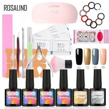 Rosalind 1 Set Gel Lacquer Kit UV LED Lamp Gel Nail Polish 10ML 4 Color Gel Nail Base Top 6W Nail Art Tools Set For Manicure artificial nails