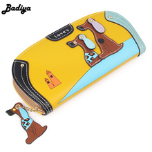 Fashion Cute Long Wallet Women PU Leather Cartoon Dog Wallets Lady Clutch 6 Colors Puppy Zipper Card Holder Female Change Purses