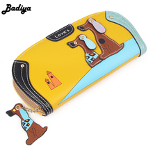 Fashion Cute Long Wallet Women PU Leather Cartoon Dog Wallets Lady Clutch 6 Colors Puppy Zipper Card Holder Female Change Purses(China)