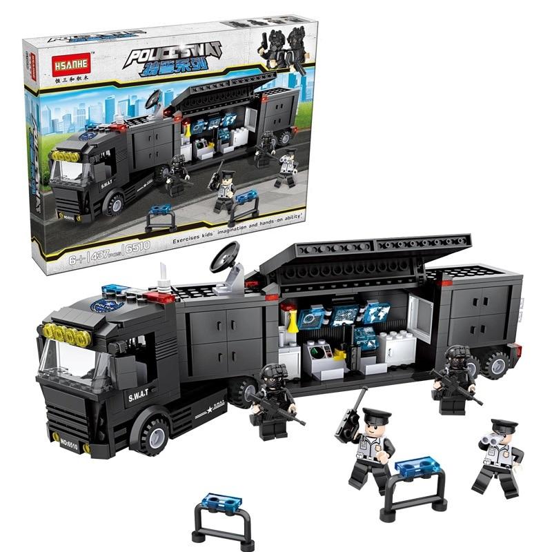 где купить 6510 HSANHE City Police SWAT Container Command Car Model Building Blocks Enlighten DIY Figure Toys For Children Compatible Legoe по лучшей цене