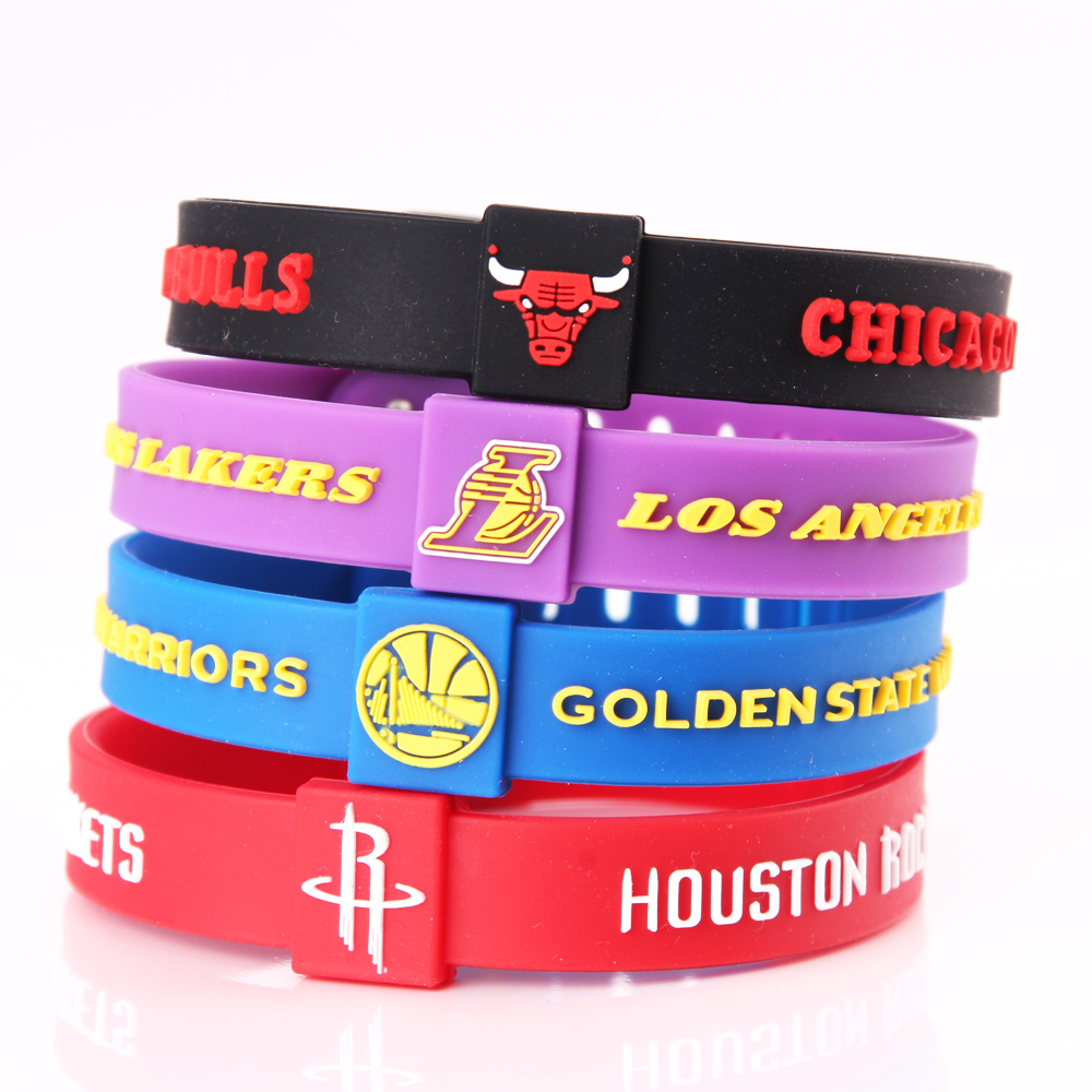 Silicone Basketball Team Bracelets Men Sport Energy Size Can Adjust Bracelet Metal Buckle Balance Wristband Power Bangle