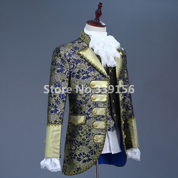(Jacket+Pants+Vest) 18th Century Historical Men's Suit Masquerade Gown Waistcoat Floral Embroidery Designs Hamilton Costume