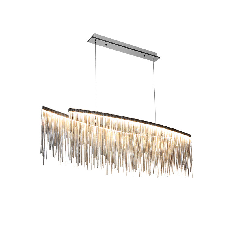 Wongshi Modern Three Color Tassel Aluminum Chain Pendant Lights Nordic Living Room Lights Villa Creative Restaurant Shop Lamps