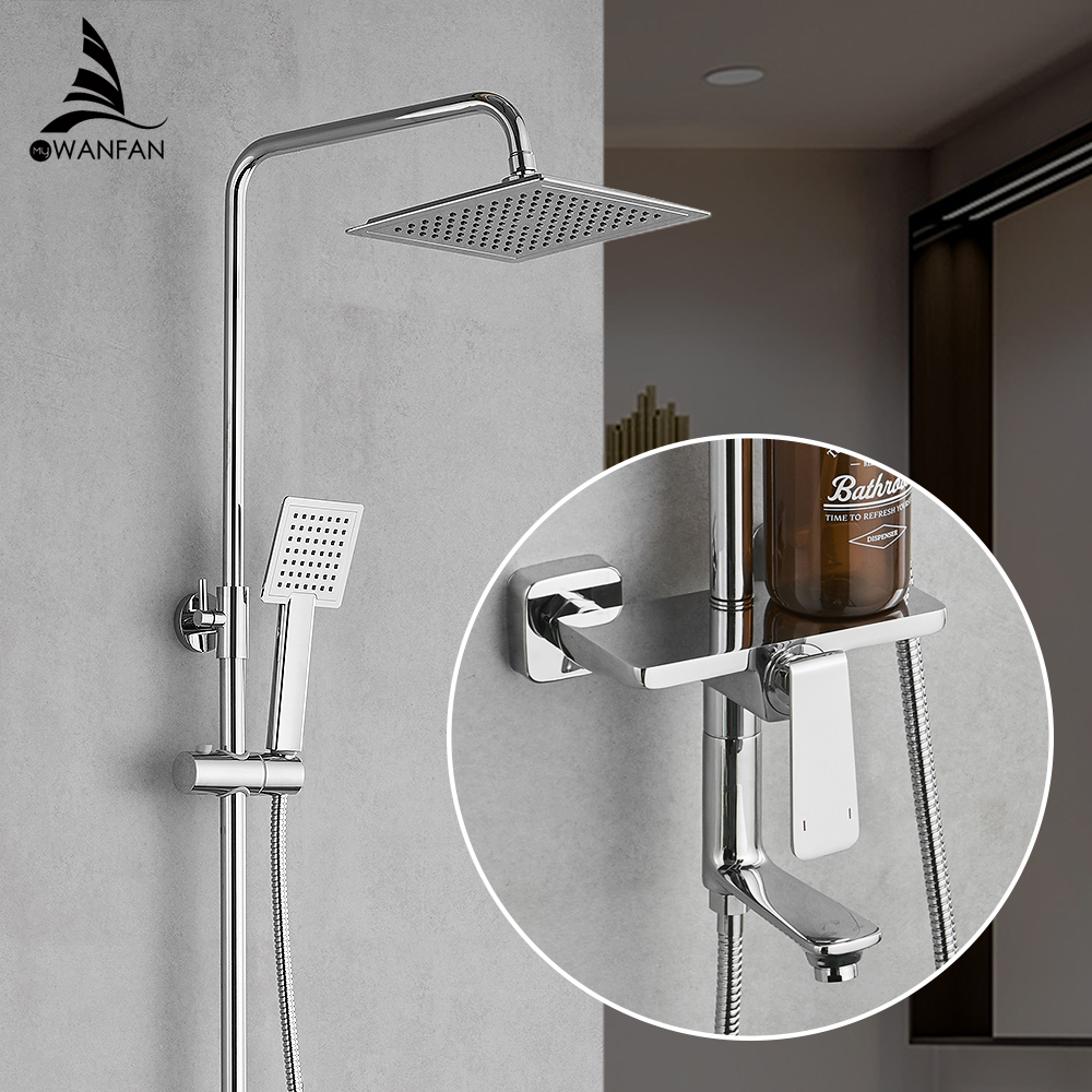 Shower Faucets Brass Chrome Faucet Square Tube Single Handle Top Rain Shower With Slide Bar Wall