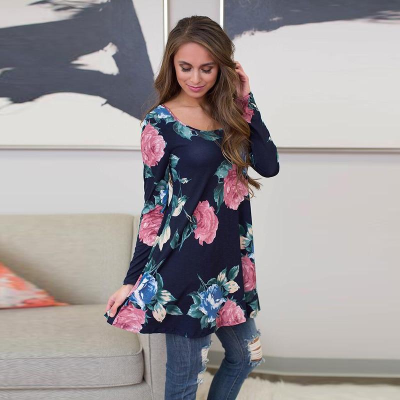 Beauty Women Long Sleeve Floral Printed Maxi Long Tshirt Mini Dress Casual Tops