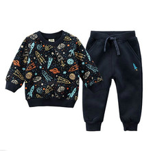 Autumn/spring Baby Boy Clothing Sets Girls Children Velvet Warm Set Kids Clothes Cartoon Coats+ Pants Suit Sport Clothing