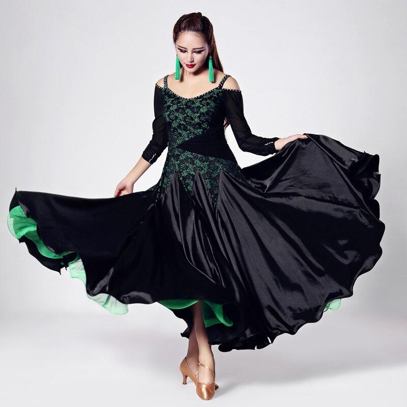 Women s Ballroom Dancingwear Long Sleeve Elegante Lace Modren Waltz font b Tango b font Dresses