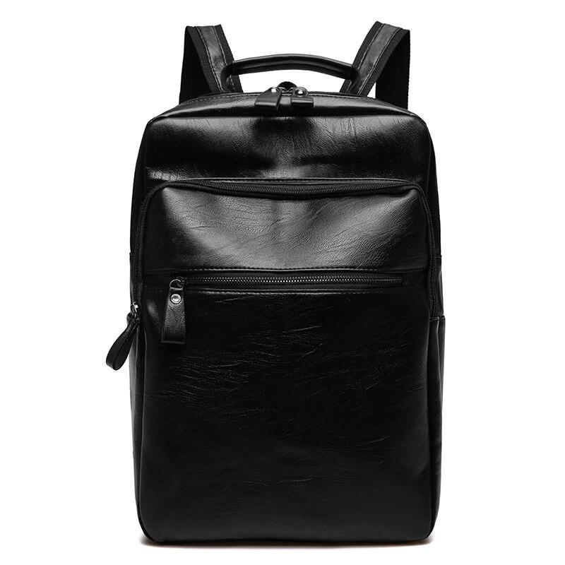 Men Business Casual Backpacks for School Travel Bag Black PU Leather Men's Fashion Shoulder Bags Vintage Boys Male Backpack Bags