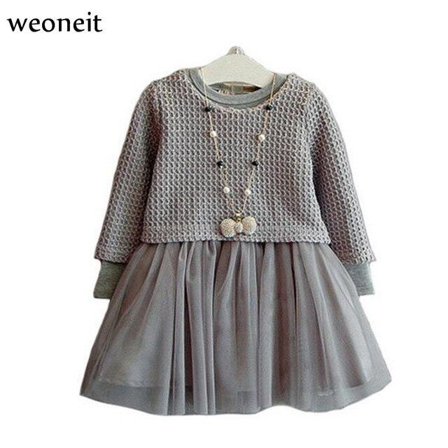 d066e74e26 Weoneit moda dziewczyny dzieci szary zimowe sukienki z długim rękawem ciepły  strój komplet garniturów 2 sztuk