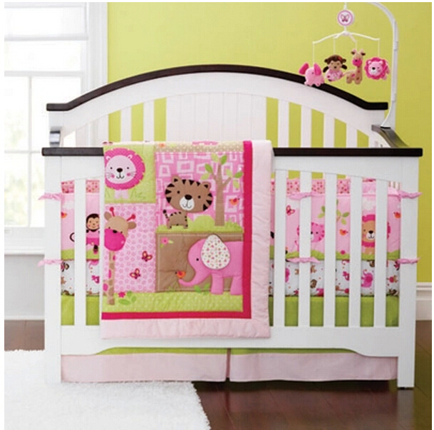 sweet zoo animals pink baby bedding set girls cot set embroidery quilt fitted sheet bumpers nursery - Baby Bedding For Girls