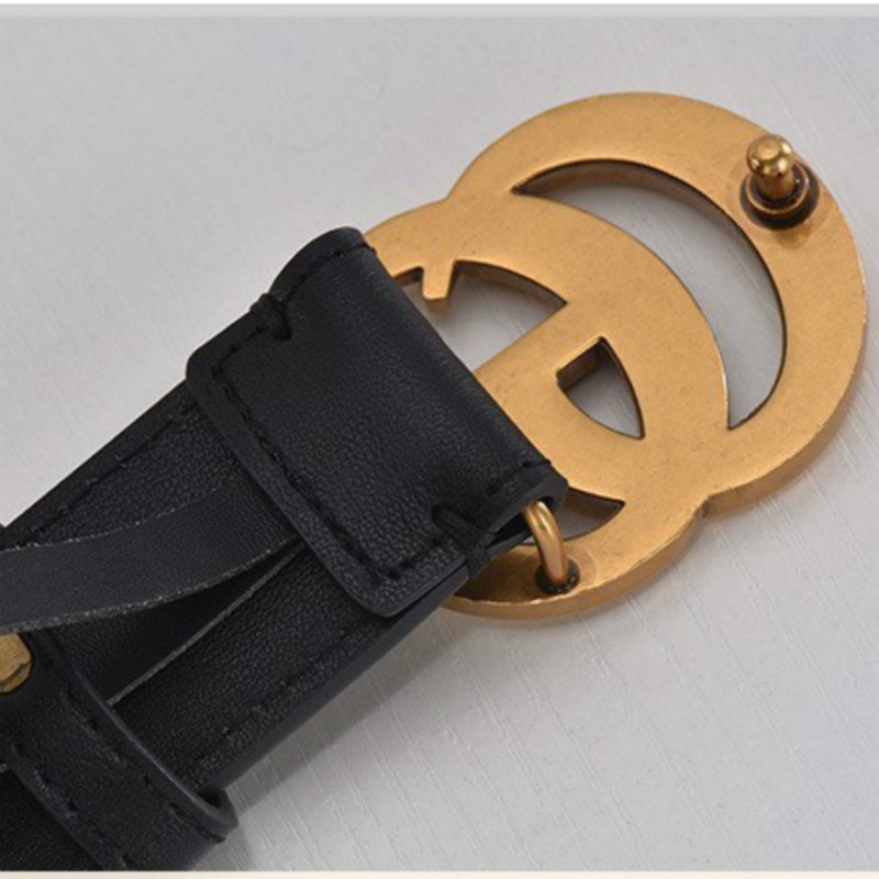 Luxury Designer High Quality Women Men Genuine Real Leather Gg   Belt   Strap For Jeans With Big Double Gg Buckle Dress   Belts   95-120