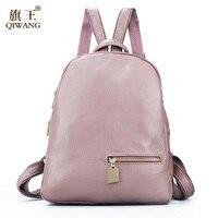 Qiwang Fashion 100 Real Soft Genuine Leather Women Backpack Female Popular Style Ladies Laptop Bag Girls