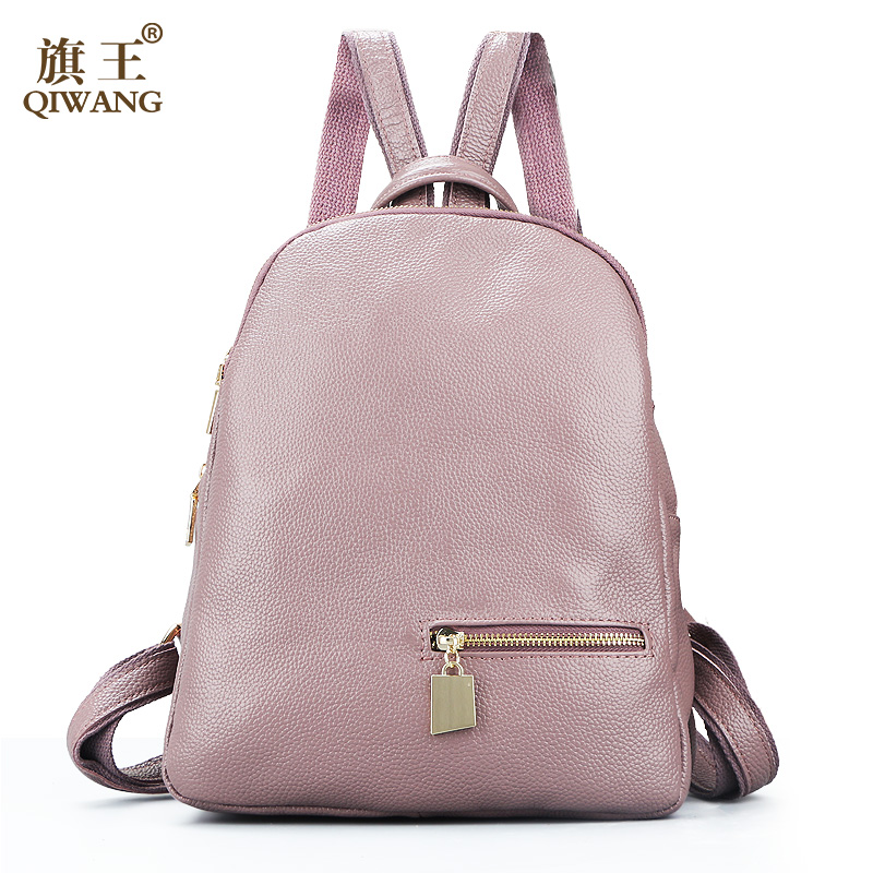 Qiwang Fashion 100% Real Soft Genuine Leather Women Backpack Female Popular Style Ladies Laptop Bag Girls Book Back Bags pabojoe women mens school backpack italian 100% genuine leather fashion book bag college daypack black fit 15inch laptop