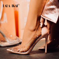 LALA IKAI Rhinestone Women Pumps Wedding Shoes Spring Summer High Heels PVC Sexy Party Shoes Chaussures Femme 014C3721 4