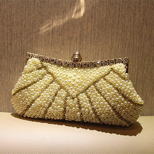 Ladies Crystal Pearl Clutch Fashion Women Rhinestone Evening Bags Bridal Wedding Party Purses Chain Handbag Bolsas