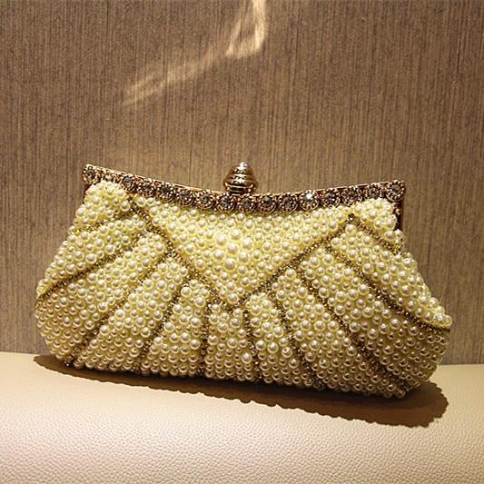 Ladies Crystal Pearl font b Clutch b font Fashion Women Rhinestone Evening Bags Bridal Wedding font