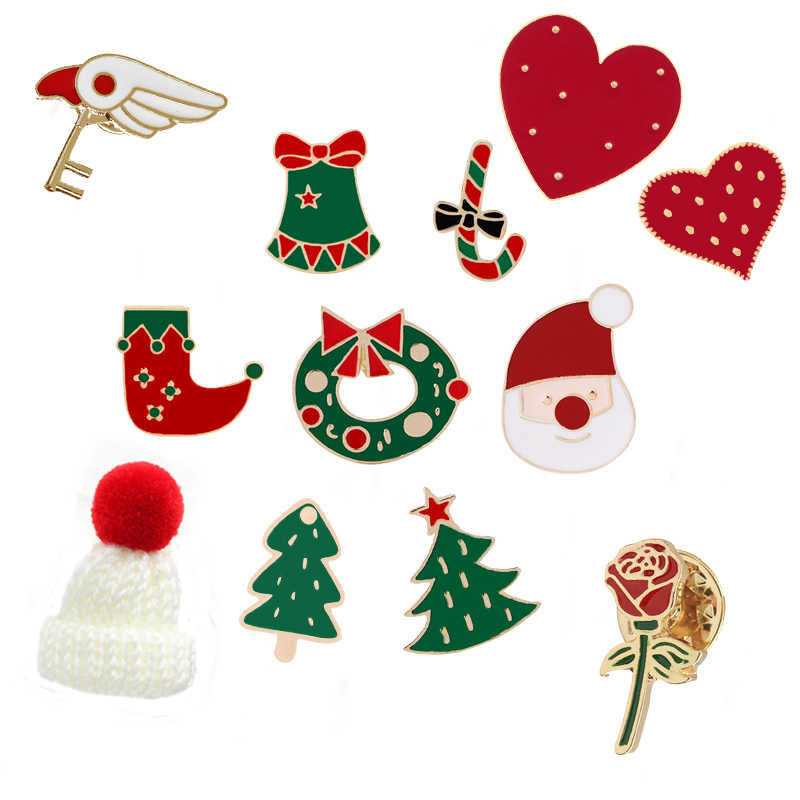 19 สไตล์ที่มีสีสันเข็มกลัดคริสต์มาสซานตาคลอส Bell หมวกหัวใจ Pins เสื้อกันหนาว Badge เสื้อผ้าเด็กของขวัญปาร์ตี้สำหรับใหม่ปี