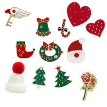 598a6948d644a 19 style colorful Brooch Christmas Santa Claus Bell Hat Heart Women Pins  Sweater Badge Clothes Kids Gift Party for the New Year