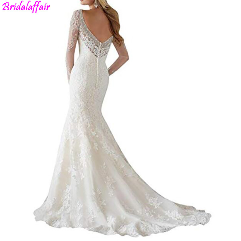Women Lace Mermaid Wedding Dress 2019 Wedding Dresses Appliques Beaded Long Sleeves Puffy Wedding Gown Illusion Back Bridal Gown