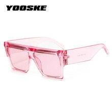 YOOSKE Oversized Square Sunglasses Women Flat Top Clear Blue
