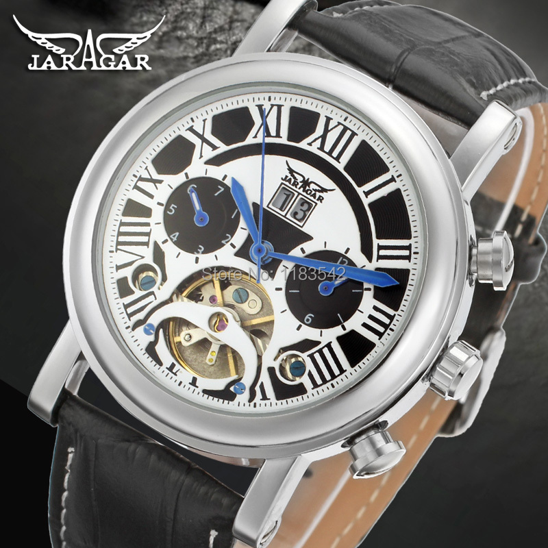 Jargar  Automatic silver color men wristwatch tourbillon black leather strap hot selling JAG9402M3S1 подвесной светильник nowodvorski 5776