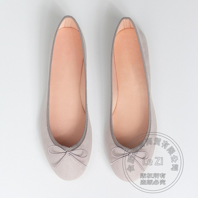 Concise Scrub Leather Soft Flock Ballet Ballerina Flats Omelet Shoes 2016 Various Preppy Style Bowtie Portable Nude Solid