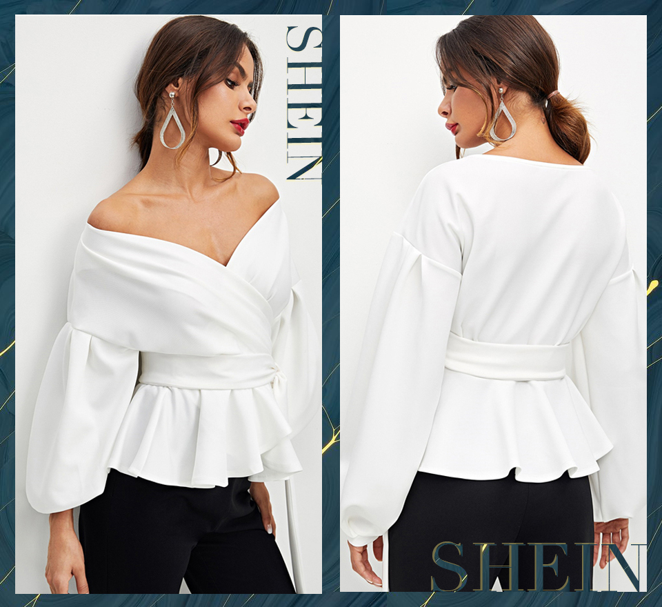 SHEIN White Office Lady Elegant Lantern Sleeve Surplice Peplum Off the Shoulder Solid Blouse Autumn Sexy Women Tops And Blouses 11