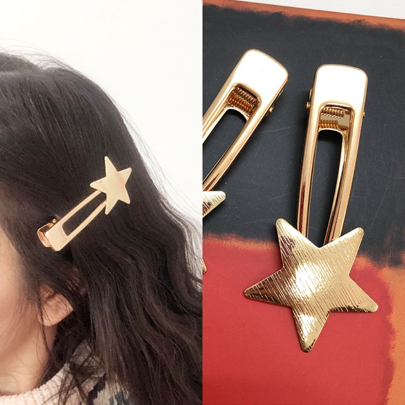 Metallic Polish Drawbench Five Pointed Star Hairpin Women Sweet Side Bang Duckbill Hair Clip Hollow Triangle Long Strip Barrette in Women 39 s Hair Accessories from Apparel Accessories