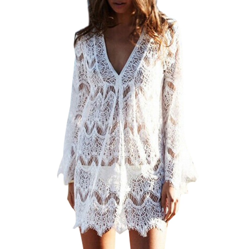 Women V-Neck Hollow Out Swimwear Swimsuit Cover Ups Loose Knitted Beach Dresses
