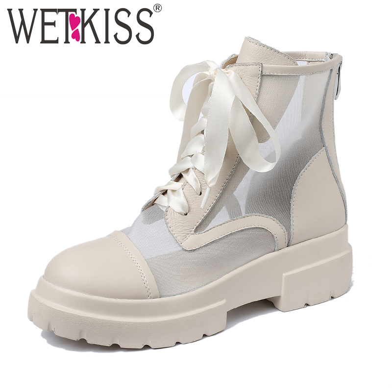 WETKIS Cow Leather Ankle Boots Women Cross Tied Footwear Casual Mesh Motorcycle Boots Female Platform Shoes Woman Summer 2019WETKIS Cow Leather Ankle Boots Women Cross Tied Footwear Casual Mesh Motorcycle Boots Female Platform Shoes Woman Summer 2019