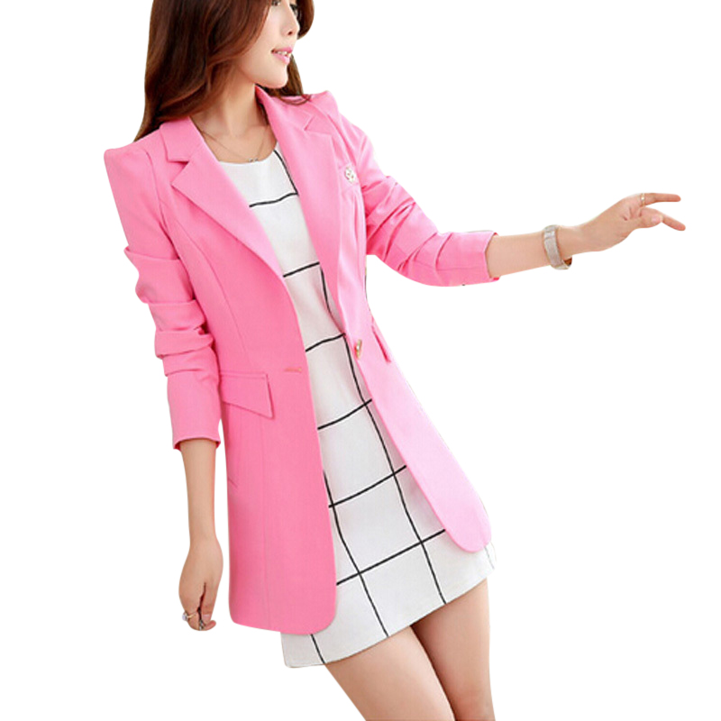 2015 New Women Fashion Spring Autumn One Button Long Suit Elegant Women Blazer Female Jacket