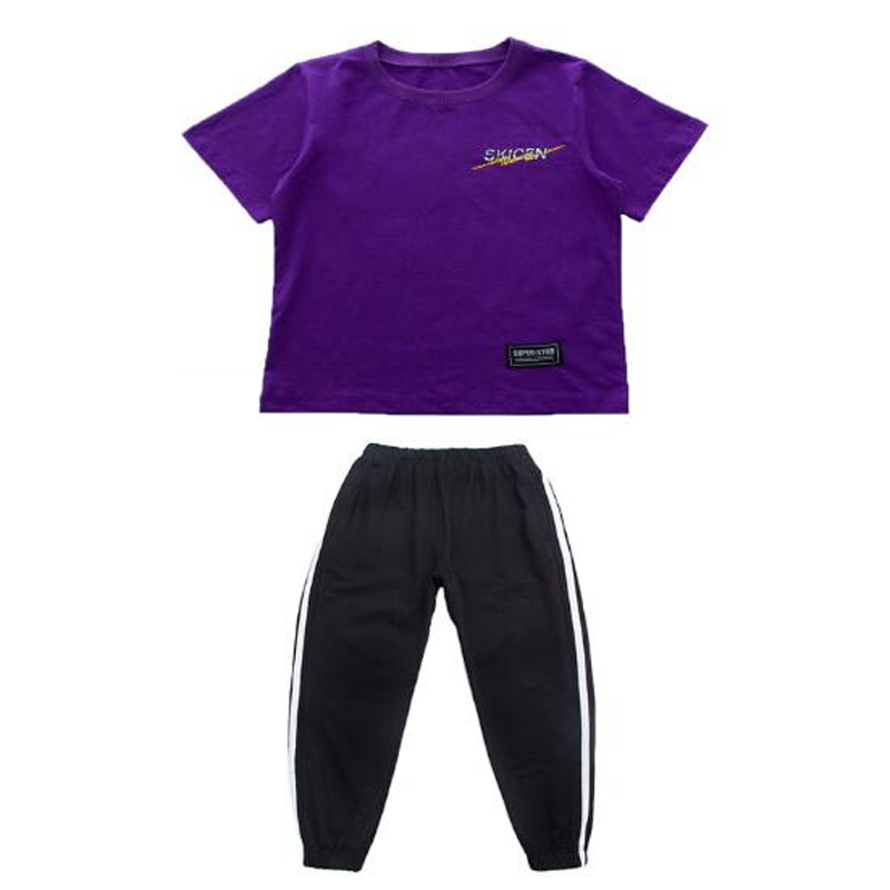 110-180cm Child Boys Girls hip hop Wear Clothes Jazz Dance Costume Purple Shirts & Black Trousers Kids Student Street Dance Wear