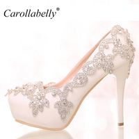 colored rhinestone Flower Platform High Heels or low heels rhinestone sexy women pumps party Wedding Shoes Bride Shoes