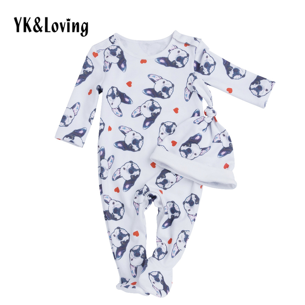New Baby Boy Bodysuit Dogs Pattern Toddler Baby Clothes Sets 2 pcs Body And Hat Winter Indoorwear Lively Costume Free Shipping