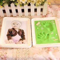 2017 Cute Photo Frame Soft Clay Imprint DIY Baby Footprint Hand Print Cast Set Gifts