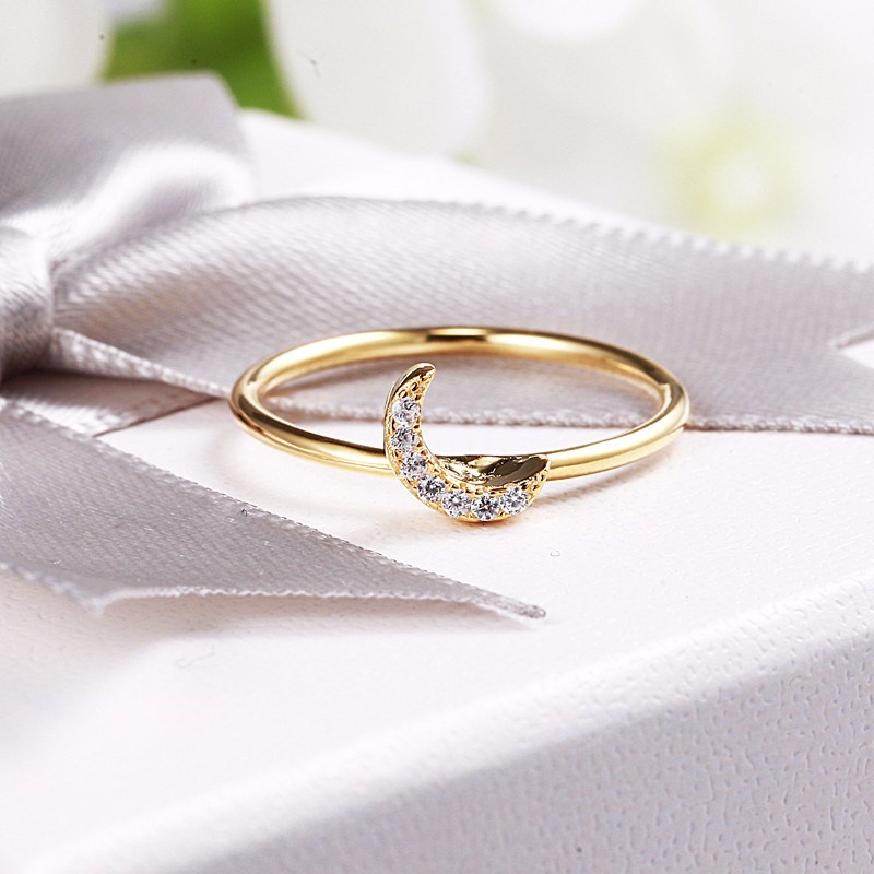 SHEON Gold Color Ring 925 Sterling Silver Dazzling White Zircon Moon Open Adjustable Rings for Women Sterling Silver Jewelry in Rings from Jewelry Accessories
