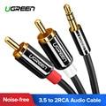 Ugreen Cable RCA 2RCA a 3,5 Cable de Audio RCA de 3,5mm Jack RCA Cable AUX para DJ amplificadores Subwoofer de Audio mezclador de Teatro en Casa DVD